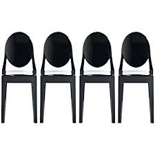 Dining Room Folding Chairs Set Of Four 4 Black Style Ghost Side