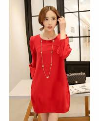 red casual dress for pregnant clothes autumn maternity wear