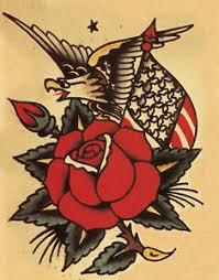 Image Is Loading Sailor Jerry Tattoo Art Rose Flag Photo Print