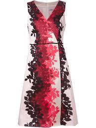 carolina herrera printed silk blend dress in red lyst