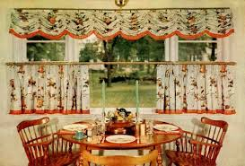Kitchen Curtain Ideas Dining Table Set In The Nearby Red Moroccan Pattern Valance Brown Wooden Countertops Bridge Faucet