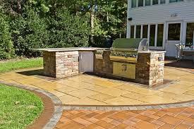 L Shaped Outdoor Counter Kitchen Autumn Leaf Landscape Design Centerport NY