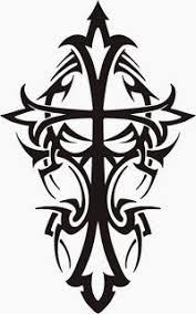 Black Tribal Cross Tattoo Design For Chest