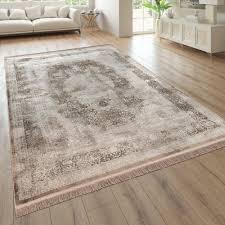 wohnzimmer teppich orient look kurzflor beige