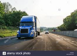 Blue Semi-truck 18 Wheeler On Highway Road Stock Photo: 222799677 ...