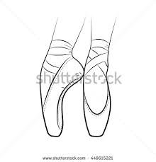 Pointe Shoes Ballet Vector Hand Drawn Illustration Dance Studio Symbol
