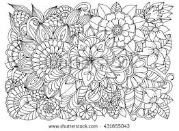 Vector Monochrome Floral Doodle Flowers In Black And White For Coloring Book