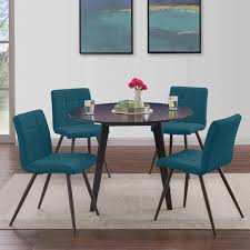 Handy Living Manzanola Blue Faux Leather Armless Upholstered Dining Chairs  (Set Of 4)
