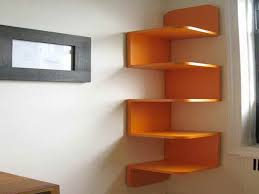 diy unique vibrant orange decorative corner wall shelving units