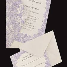 Ivory Purple Lace Wedding Invitations