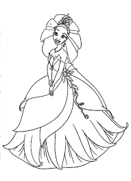Download And Print Beautiful Tiana With Wedding Dress In Disney Movie Princess The Frog Coloring