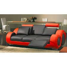 canapé cuir noir convertible canapé 3 places en cuir relax noir et achat vente canapé