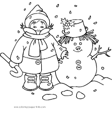 Child With A Snowman Coloring Sheet