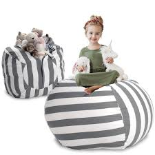 Extra Large Stuff 'n Sit - Grey Stripe   Minimally Organize ... Nobildonna Stuffed Storage Birds Nest Bean Bag Chair For Kids And Adults Extra Large Beanbag Cover Animal Or Memory Foam Soft 7 Best Chairs Other Sweet Seats To Sit Back In Ehonestbuy Bags Microfiber Cotton Toy Organizer Bedroom Solution Plush How Make A Using Animals Hgtv Edwards Velvet Pouch Soothing Company Empty Kid Covers Your Childs Blankets Unicorn Stop Tripping 12 In 2019 10 Of Versatile Seating Arrangement