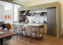 View In Gallery Long Cart The Industrial Kitchen Doubles As Perfect Island