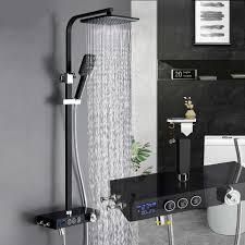 luxus matte schwarz badezimmer thermostat dusche wasserhahn