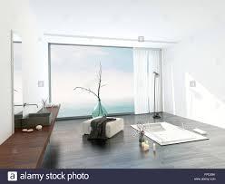 moderne helle weiße badezimmer interieur mit einem großen