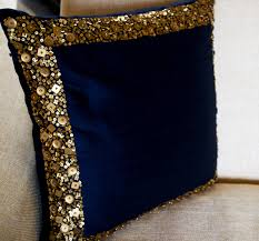 navy blue throw pillow with gold sequin boarder sequin bead