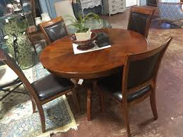 Bernhardt Dining Table 4 Chair Set wood & leather AS FOUND