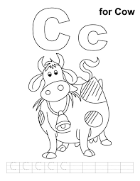 C For Cow Coloring Page With Handwriting Practice