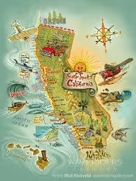 California Surf Spots By Rick Rietveld Map Surfing