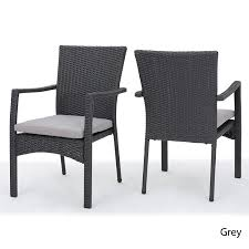 Great Deal Furniture 300198 Tigua Outdoor Grey Wicker Dining Chair With  Cushions (Set Of 2) Lotta Ding Chair Black Set Of 2 Source Contract Chloe Alinum Wicker Lilo Chairblack Rattan Chairs Uk Design Ideas Nairobi Woven Side Or Natural Flight Stream Pe Outdoor Modern Hampton Bay Mix And Match Brown Stackable