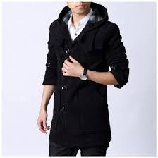 Manteau Laine Pour Homme Avec Capuche Et Poches Cotes
