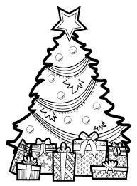 Christmas Tree Coloring Pages With Presents Clipart