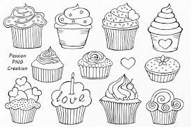 Outline Cupcake Clipart Doodle Cupcakes Clip art Hand drawn cupcake clip art By PassionPNGcreation