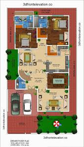 One Level House Plans With Basement Colors 3d Front Elevation Com 1 Kanal House Drawing Floor Plans