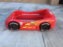 little tikes lightning mcqueen toddler car bed red sport no