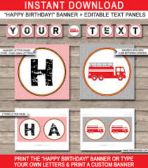 Fireman Party Banner Template | Birthday Banner | Editable Bunting