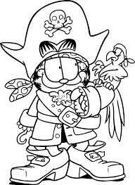 Garfield Become A Pirate And Bird Coloring Pages For Kids Printable
