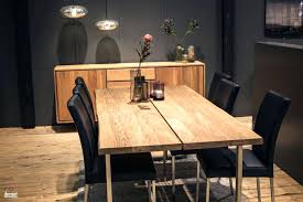 Light Wood Dining Sets Room 6 Black Chair Flooring Flower Vase Metallic