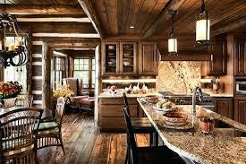 smaller cozy log cabin kitchen rustic lighting homes options for