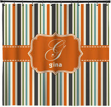 Orange & Blue Stripes Shower Curtain Personalized