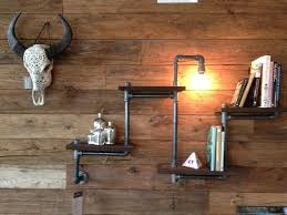 Rustic Industrial Wood Pipe Shelving Unit With Light Living Room