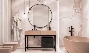 bäder ideen bad mit rosa marmorfliesen und badezimmermögeln