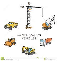 Construction Vehicles Cartoon Vector Illustration Stock Vector ...