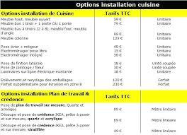 pose de cuisine prix tableau de tarifs dinstallation de cuisine