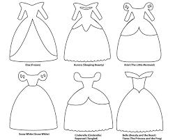 6 paper dress cutout templates for 8 Disney princess characters 1796