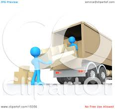 100 Moving Truck Clipart Two Blue Male Figures Lifting And Loading Or Unloading A Beige