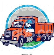 100 Dump Truck Drivers Logo Of A Driver Man Giving A Thumb Up Over A Blue White