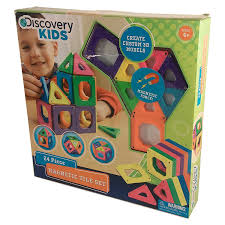 amazon com discovery kids magnetic tile set 24 piece toys games