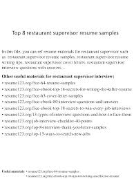 Restaurants Manager Resume Sample Of Restaurant Supervisor With