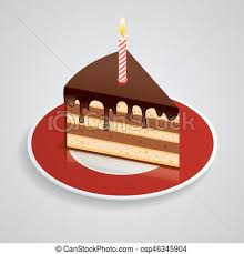 A Piece Chocolate Cake With e Candle A Saucer Celebrating The Birthday 1 Year The Food