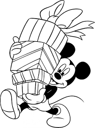 Coloring PagesExtraordinary Christmas Color Pages Disney Mickey Mouse Holding Gifts