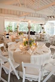 Burlap Runners On Round Tables With White Garden Chairs