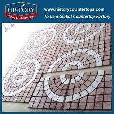 History Stones China Factory Flamed Round Pattern Natural Ocean Red Granite On Net Patio Flooring Terrace Floors Exterior Floor Paver Drainage Pavers