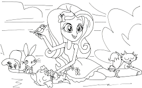 Imagination My Little Pony Equestria Girl Coloring Pages Equestrias Fluttershy Page Throughout Free